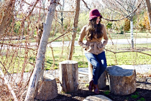 Fall Outfit with Red Hat Brown Booties