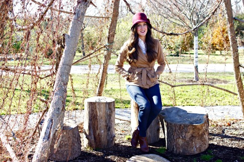 Fall Outfit with Red Cloche Hat