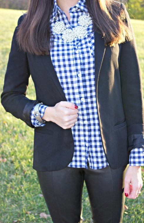 Navy Gingham Shirt Black Blazer