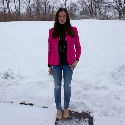Gap Jeans Pink Blazer