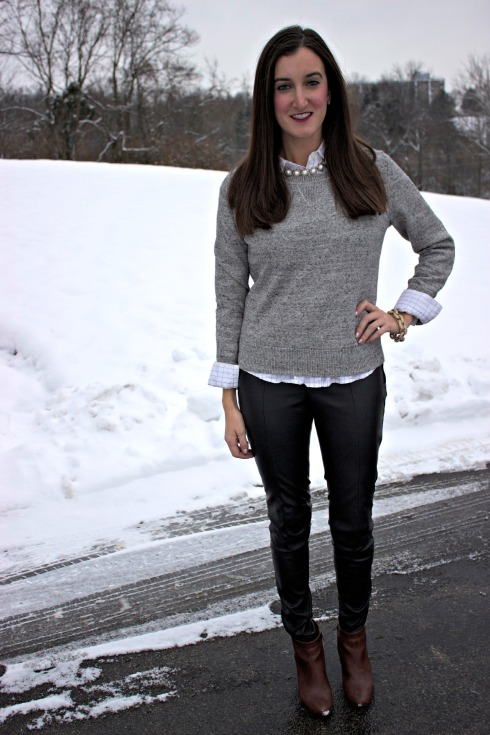 Gap Heathered Sweater Leather Pants