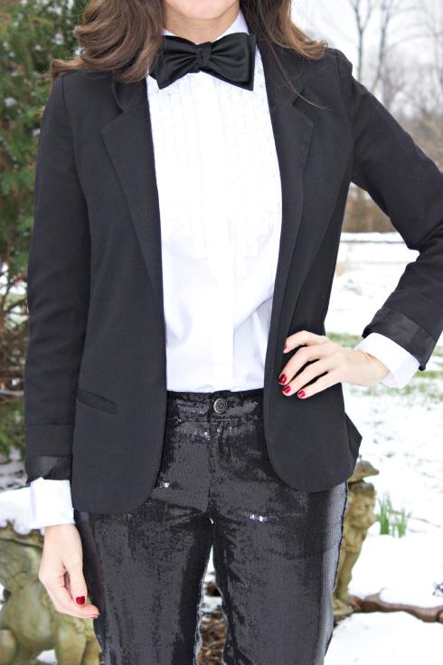 Womens Tuxedo Bow Tie Sequin Pants