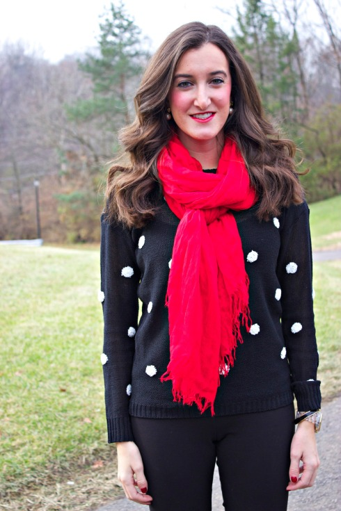 Black White Polka Dot Sweater Red Scarf