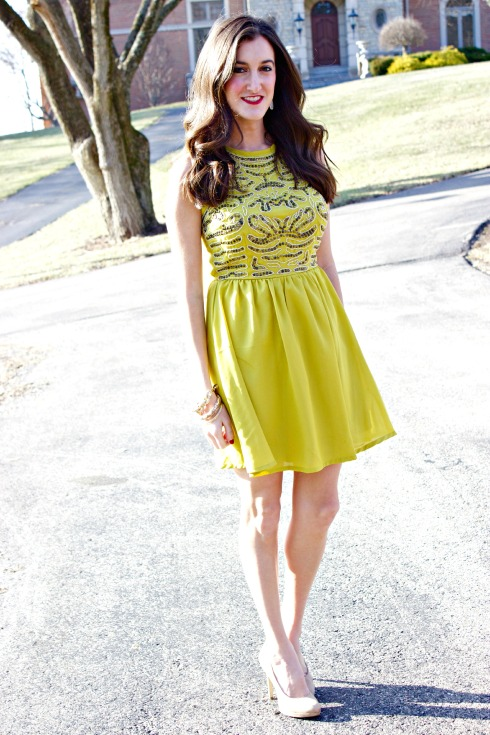 Yellow A-Line Sequin Dress Bar III