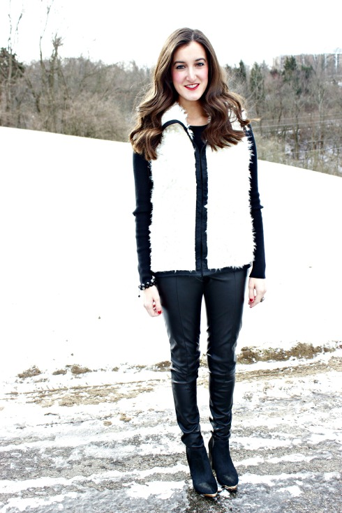 Cream Vest with Leather Pants