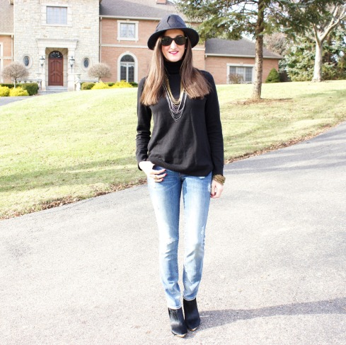 Distressed Jeans Black Sweater
