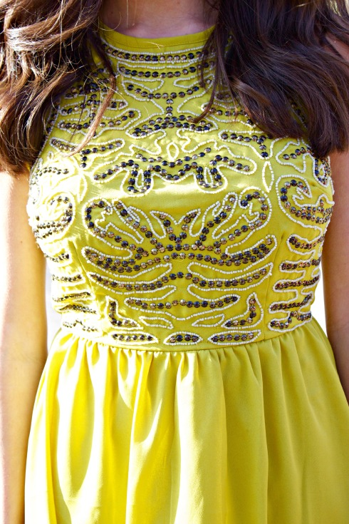 Yellow A-Line Sequin Dress