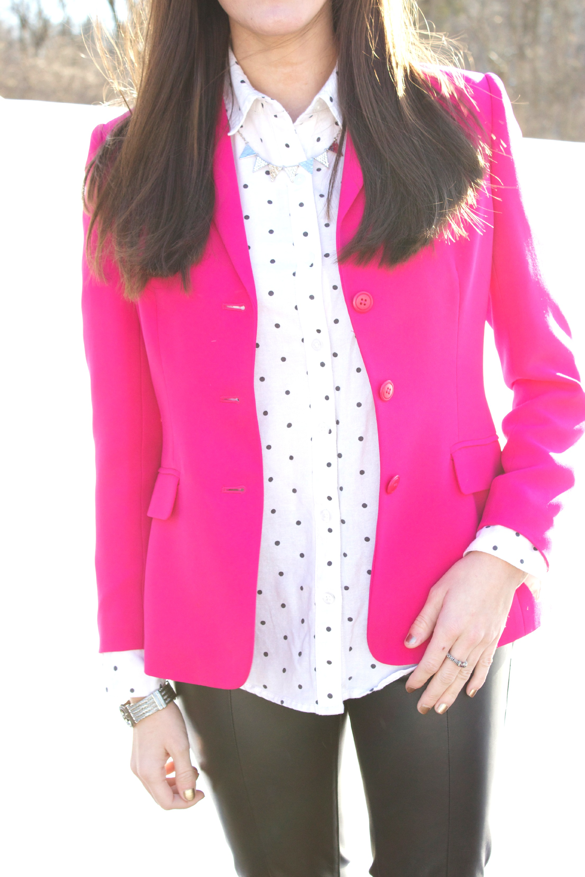 pink blazer  baubles to bubbles