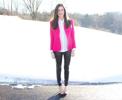 Leather Pants Pink Blazer