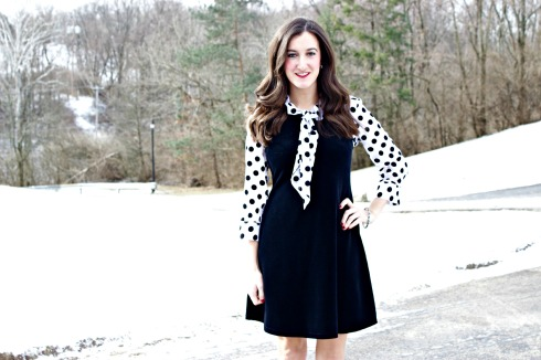 Velvet Dress With Polka Dot Blouse