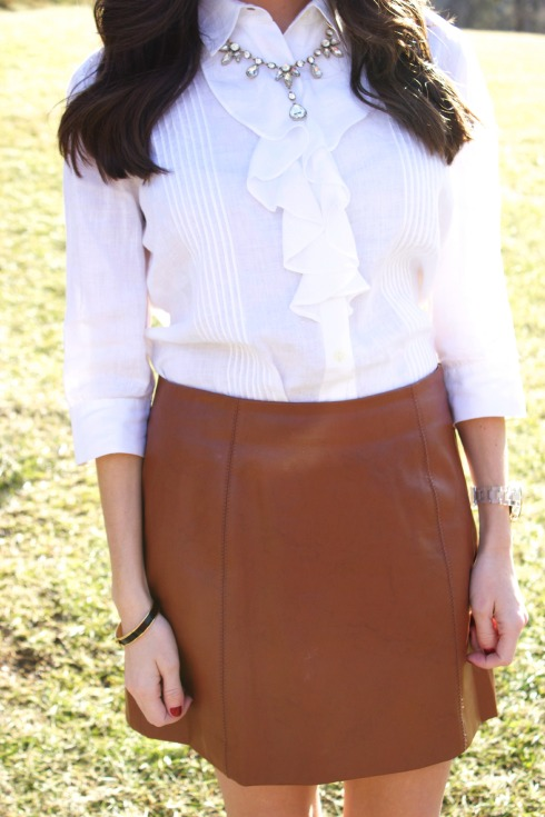 Brown Leather Skirt with White Blouse