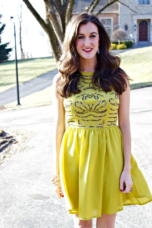 Bar III Yellow Gold Sequin Dress