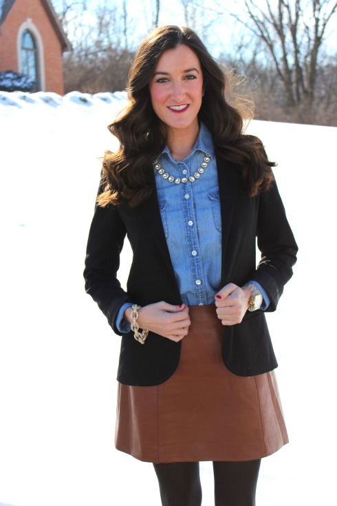 Chambray Shirt with Brown Leather Skirt