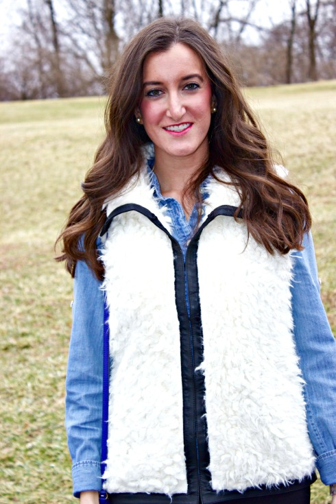Faux Fur Vest with Chambray Shirt