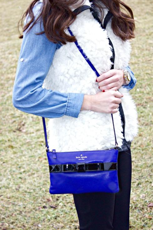 Kate Spade Black Blue Bow Purse