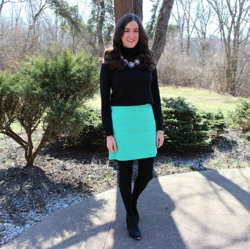 Black Gap Turtleneck with Gap Baby Blue Skirt