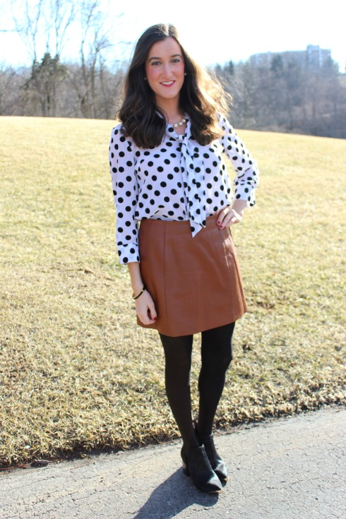 How To Wear A Brown Leather Skirt