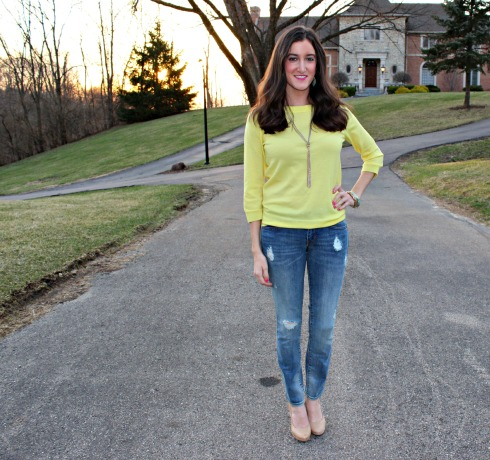 Distressed Gap Jeans Yellow J.Crew Sweater