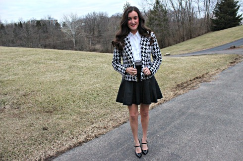 Houndstooth Jacket with Leather Skirt