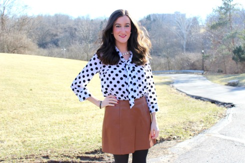 Black and White Polka Dot Blouse with Brown Leather Skirt