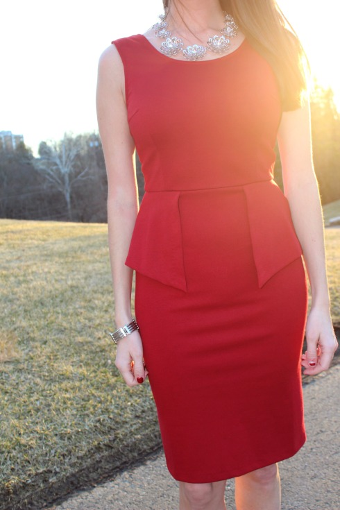 THML Fitted Red Peplum Dress