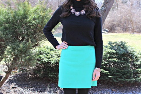 Kate Spade Flower Necklace Gap Blue Skirt