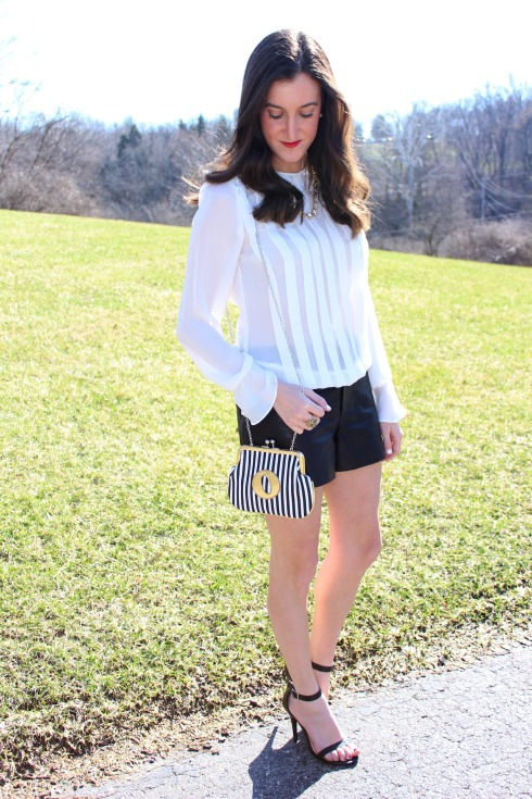 White Zara Blouse with Leather Shorts