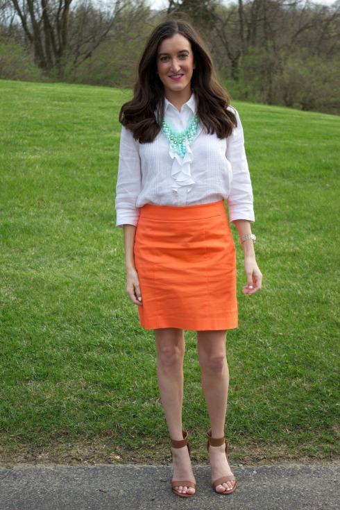Ann Taylor Orange Pencil Skirt