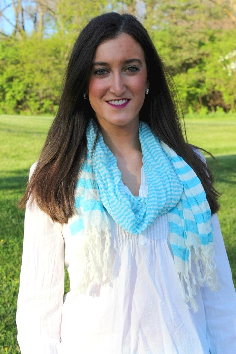 Baby Blue and White Striped Scarf