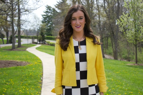 Bright Yellow Blazer with Black and White Dress
