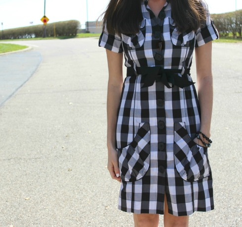 Checker Print Dress with a Bow
