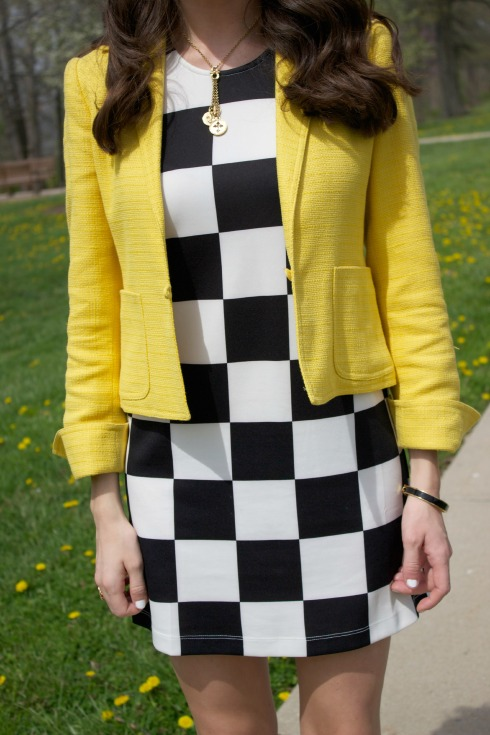 Forever 21 Checkered Dress with Yellow Blazer