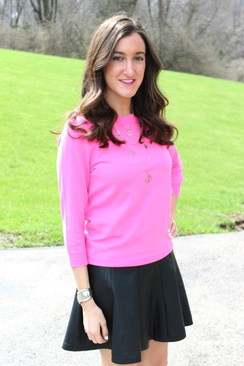 J.Crew Pink Tippi Sweater with Leather Skirt