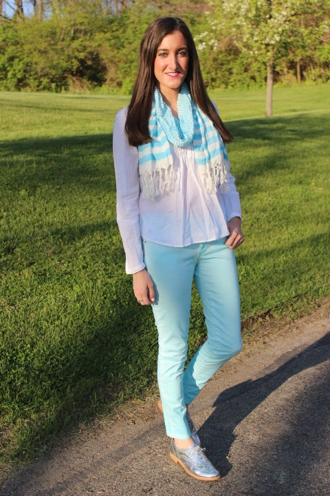 Metallic Oxfords with Gap Legging Jeans