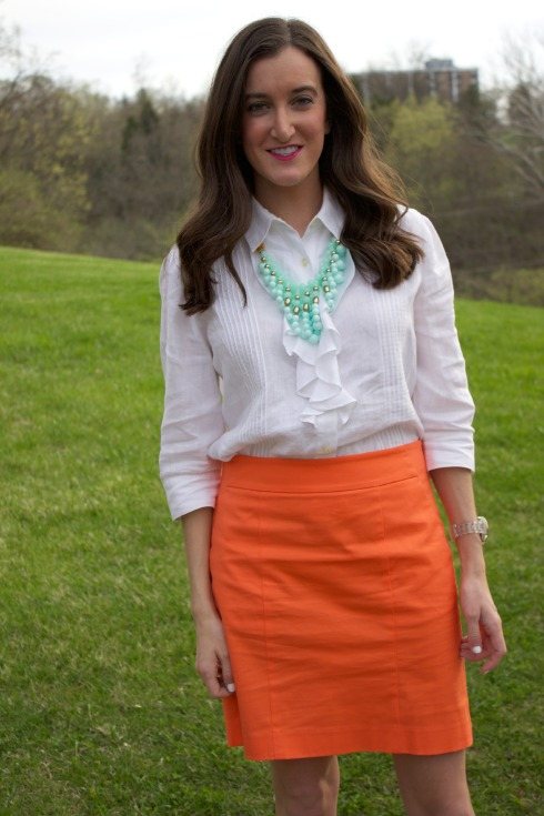 Orange Ann Taylor Pencil Skirt with White Ruffle Blouse