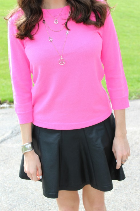Pink Sweater with Black Leather Skirt