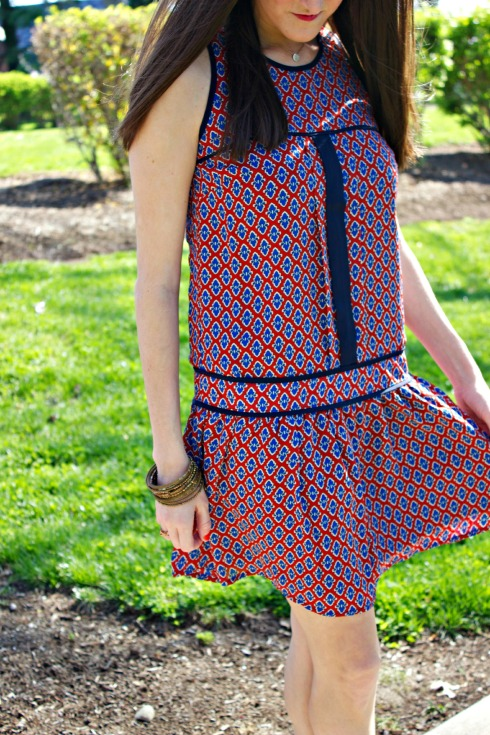 Piperlime Red Blue Print Dress
