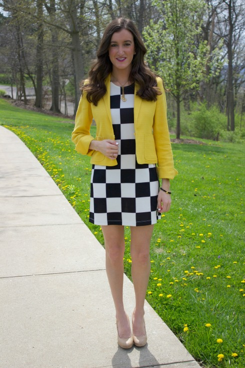 Spring Work Outfit with Yellow Blazer