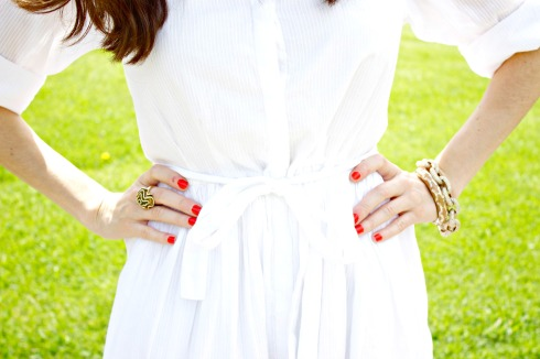 White Gap Shirtdress JCrew Pave Links Bracelet