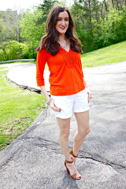White J.Crew Chino Shorts with J.Crew Red Half Sleeve Top
