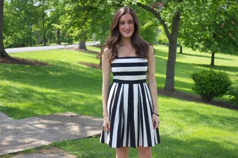 Ann Taylor Loft Stripe Pleated Cotton Linen Dress