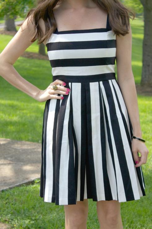 Ann Taylor Loft Striped Pleated Linen Dress