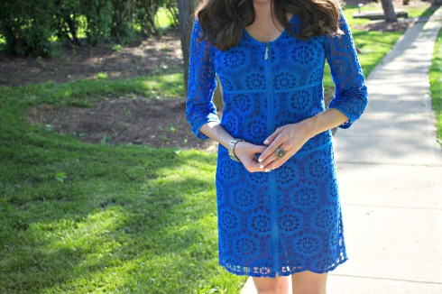 Blue Lace Zip-Up Summer Dress