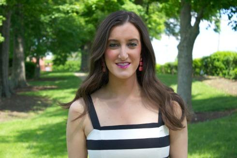 Kate Spade Pink Earrings with Loft Striped Dress