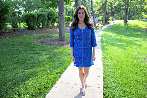 Laundry by Shelli Segal Blue Zipper Lace Dress