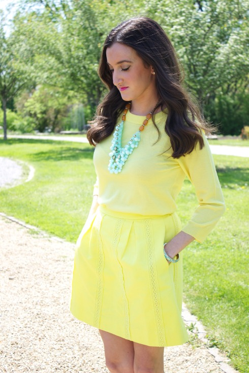 Yellow J.Crew Skirt with Yellow J.Crew Sweater