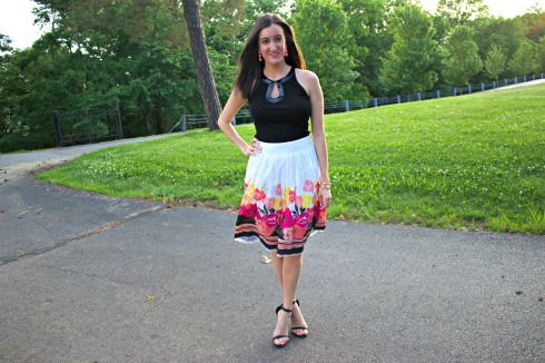 Black Keyhole Tanktop with Flower Skirt