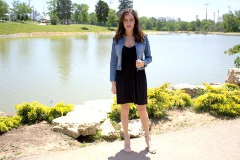 Black Summer Dress with Cropped Denim Jacket