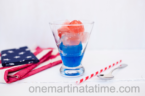 Red White and Blue Alcohol Ice Cubes