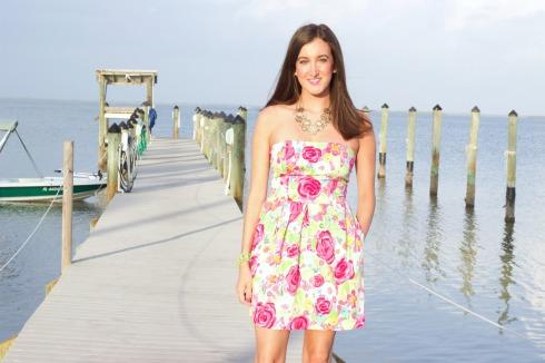 Flower Print Pink Summer Strapless Dress